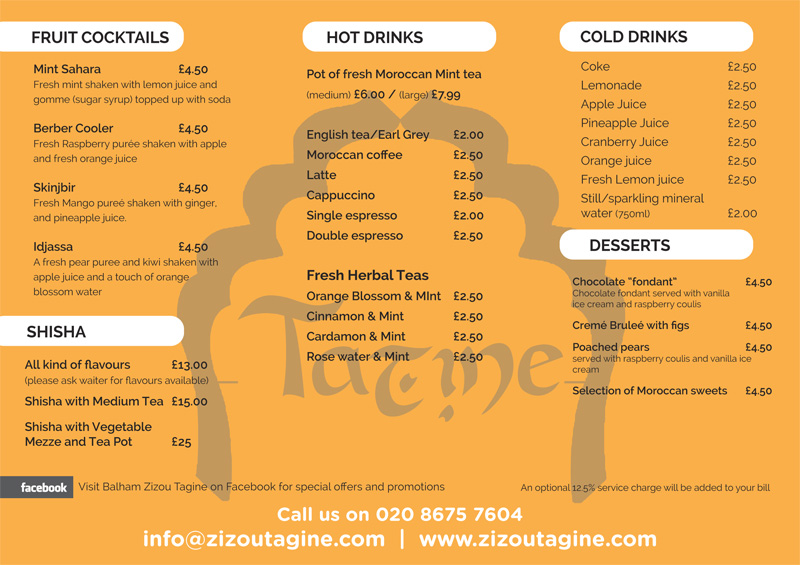 Party menu for Christmas at Zizoutagine